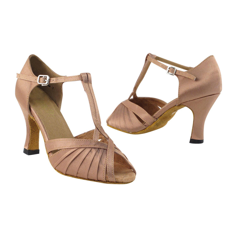 Very Fine Dance Shoes 2707 Brown Satin, 2.5'' Heel, Size 8 1/2