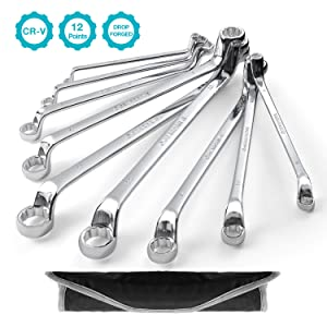 GEARDRIVE Offset Box Wrench Set,9-Piece,Metric,Chrome Vanadium Steel Construction with Pouch