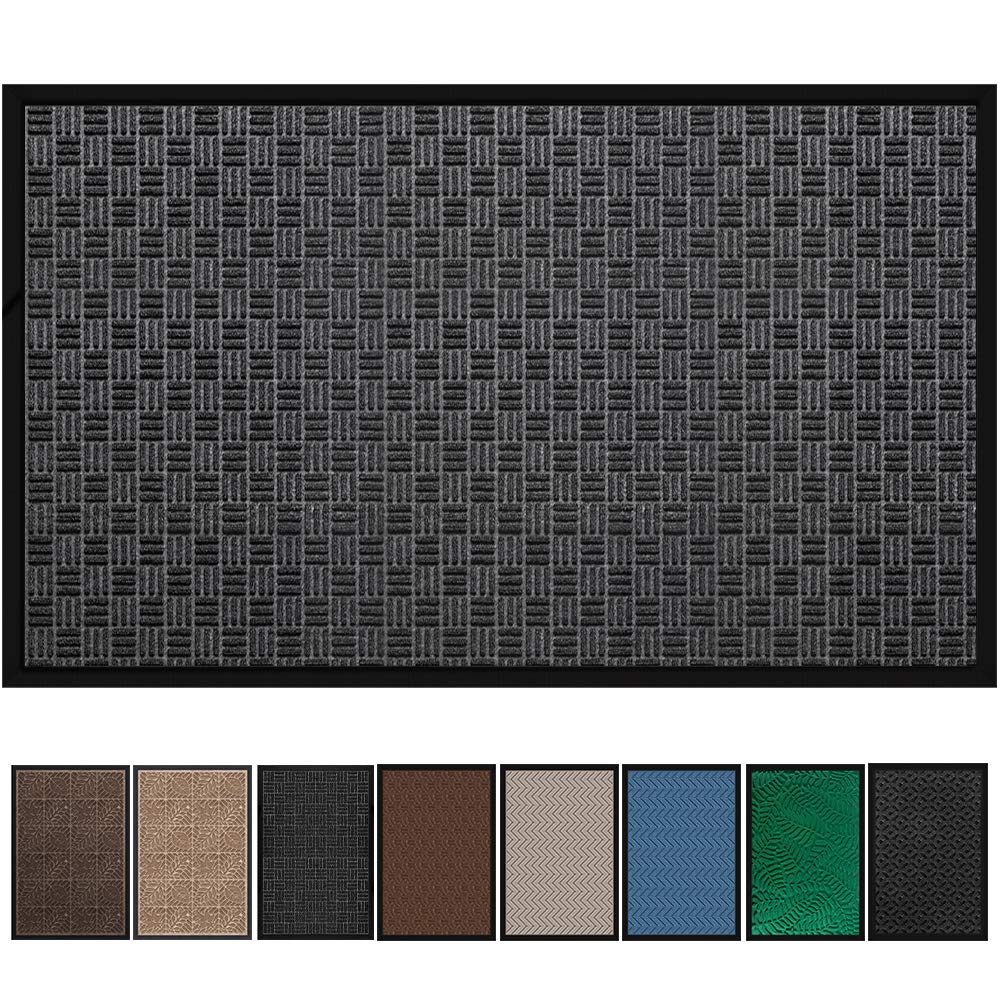 "Large Outdoor Door Mats Rubber Shoes Scraper 36"" x 59"" for Front Door Entrance Outside Doormat Patio Rug Dirt Debris Mud Trapper Waterproof Out Door Mat Low Profile Washable Carpet"