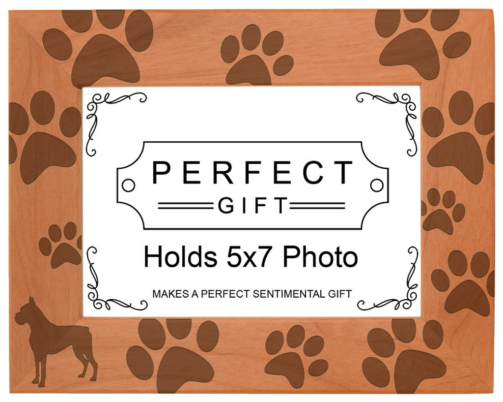 Dog Lover Gift Boxer Silhouette Paw Prints Natural Wood Engraved 5x7 Landscape Picture Frame Wood