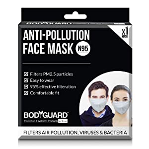 BodyGuard Dust and Anti Pollution Face Mask with N95 + PM2.5 for Men and Women - Medium