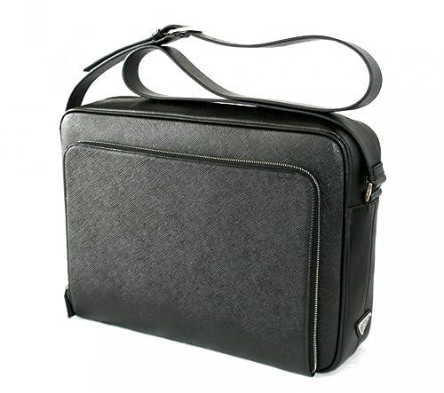 db0351ef76b7 Prada Men's VA0998 Black Saffiano Leather Messenger Bag: Amazon.co ...