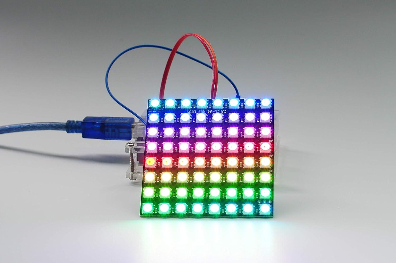 8x8 64 Bit Matrix 5050 WS2812 LED RGB Full-Color Black Driver Board for Arduino