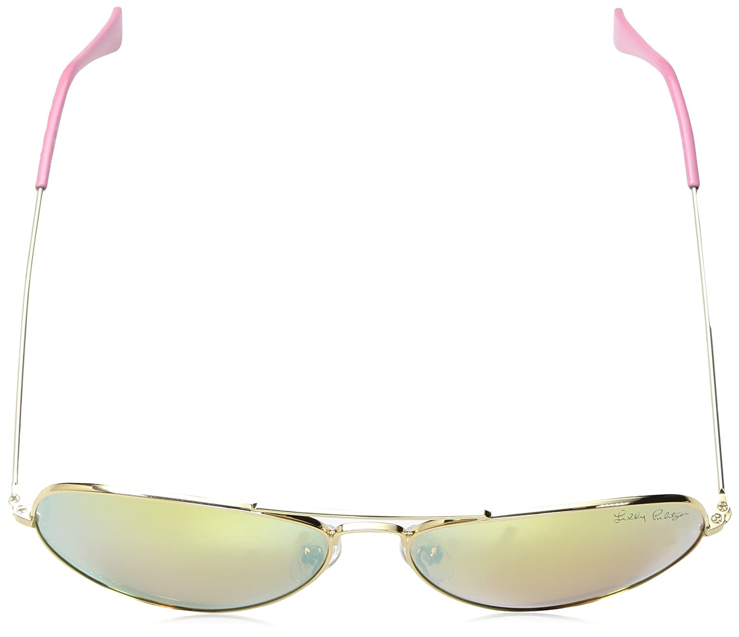 4722d3508b2 Amazon.com  Lilly Pulitzer Women s Lexy Polarized Aviator Sunglasses Shiny  Gold Coco Coral Crab 59 mm  Clothing