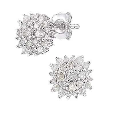 5d085b5f1 Naava Women's 9ct White Gold 0.40ct Diamond Cluster Earrings: Amazon.co.uk:  Jewellery