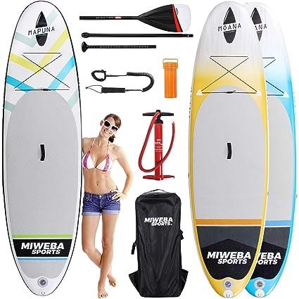 Tabla de surf a remo Miweba Moana, para padel surf, inflable, de 305