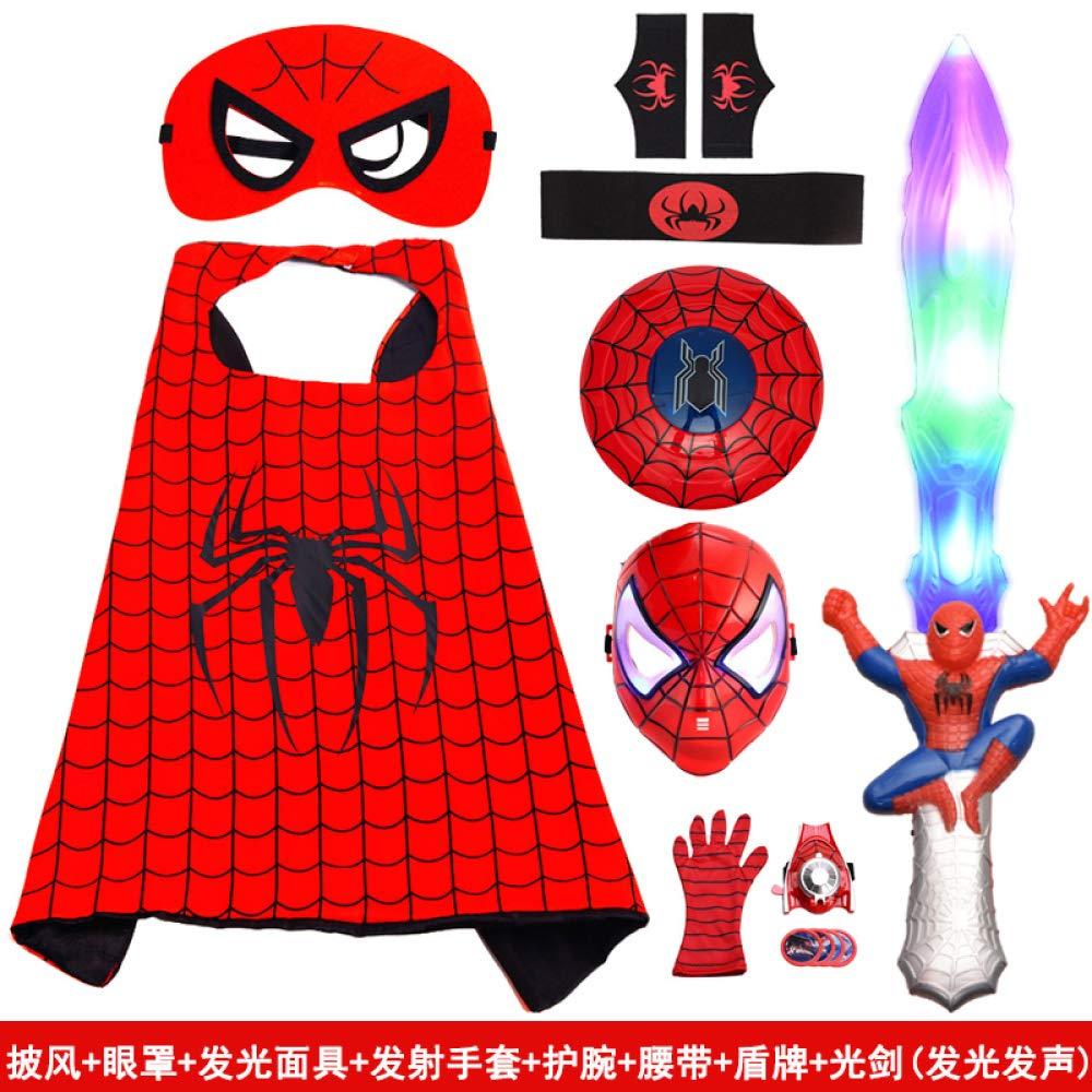Course23 POIUYT Htuttioween Costume Cosplay per Bambini Spider-uomo Cloak Polso Launcher Maschera Scaldacollo uomotello uomotello Set Scituttie 70cm,Package4