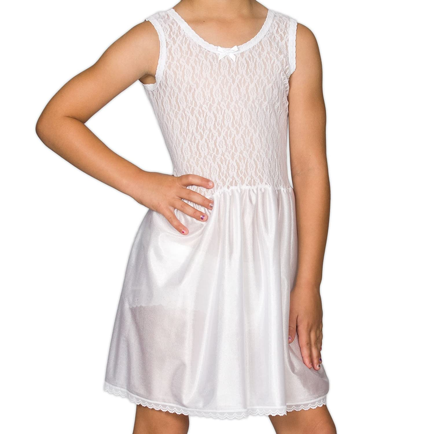 I.C. Collections Big Girls White Stretch Lace Slip, 10 New ICM 000403-WHC