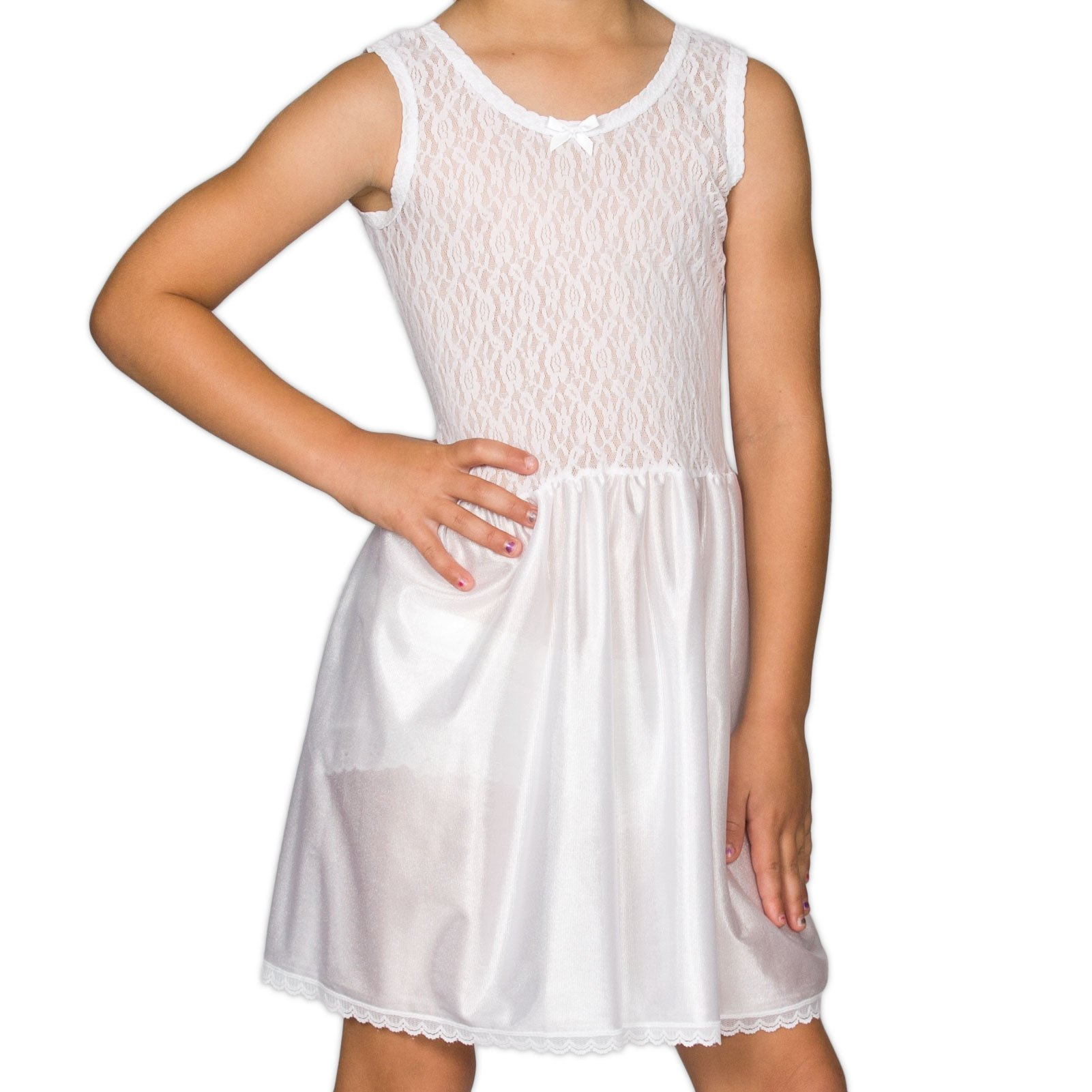 I.C. Collections Little Girls White Stretch Lace Slip, 6