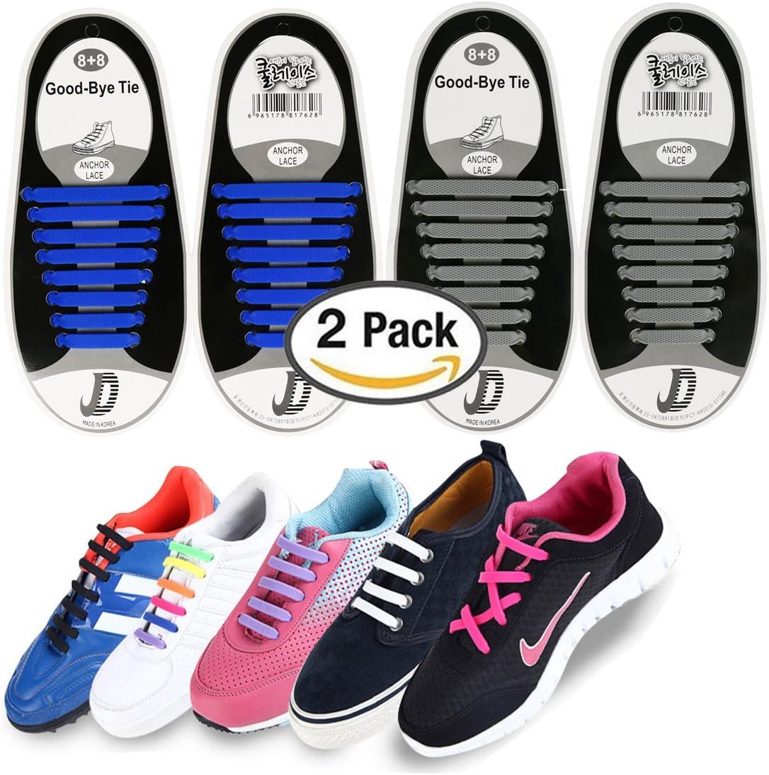 2 pares silicona elástica no tie cordones para adultos, wash-free zapatos para soporte de zapatos zapatillas para botas de encaje zapatos y zapatos de Casual, Azul + gris: Amazon.es: Deportes y aire