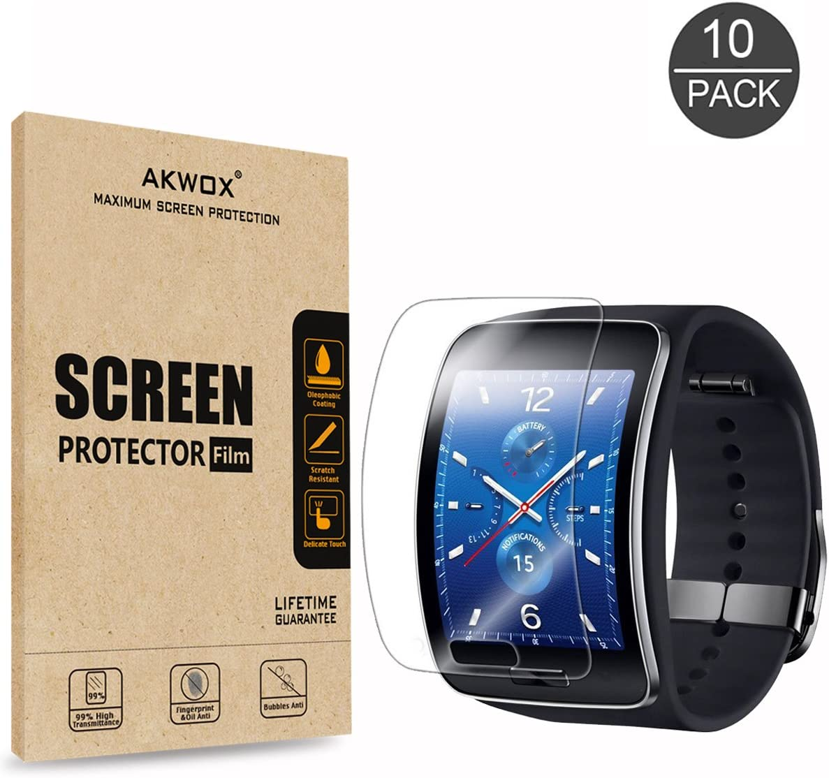 AKWOX [10-Unidades] Samsung Gear S Protector de Pantalla ...