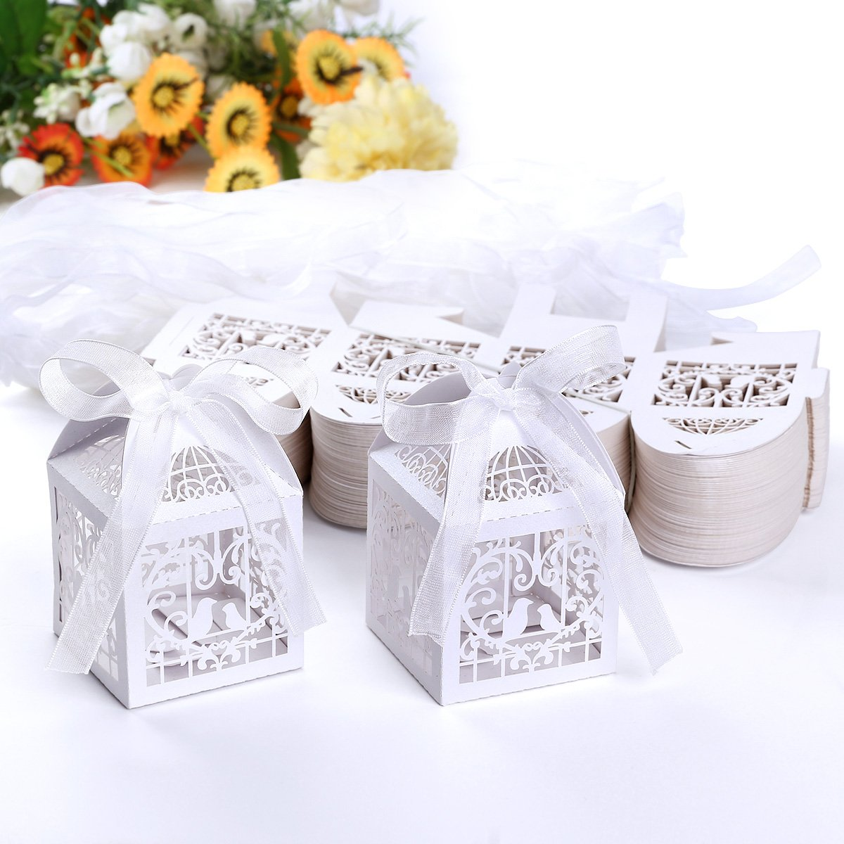 Large Pk 100 Cage Laser Cut Gift Bomboniere Boxes Wedding Favor Baby ...