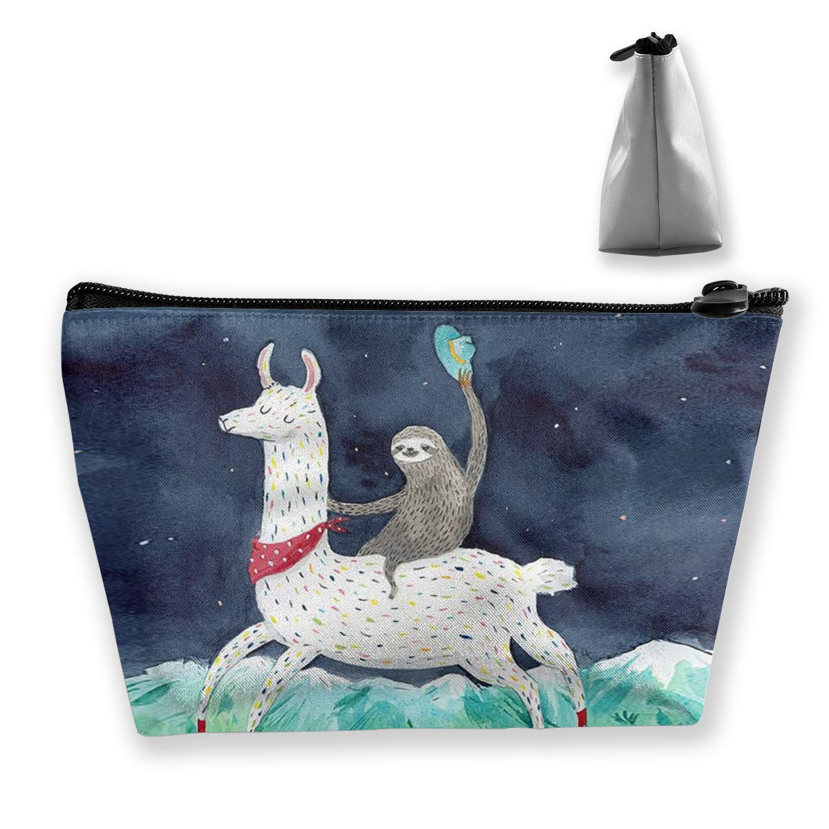 Women Sloth Riding Llama Painting Makeup Bag Cosmetic Bags Hand-held Toiletry Travel Organizer for Girl Cosmetics Make Up Tools Toiletries