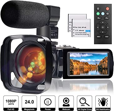 Amazon Com Video Camera Camcorder With Microphone Full Hd 1080p 24mp 30fps Fambrow Digital Youtube Vlogging Camera Recorder Night Vision 3 0 Inch 270 Degree Rotation Lcd 16x Digital Zoom Camcorders 2 Batteries Electronics