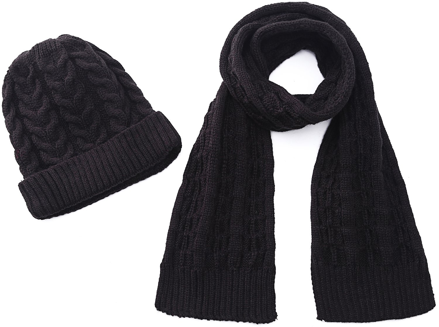 Hat Scarf Sets Thick Winter Scarves for Boys Girls Beanie With Knit Hats Black