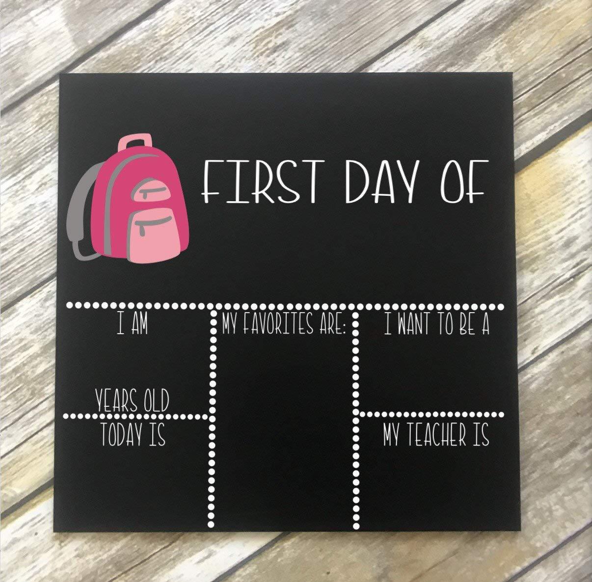 PotteLove First Day School Chalk Board. Reusable Sign. 1st Day School. Back to School Chalkboard Backpack Chalkboard