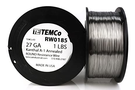 TEMCo Kanthal A1 wire 27 Gauge 1 lb (2040 ft) Resistance AWG A-1 ...