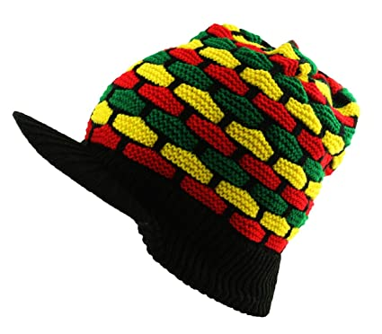Itzu Knit Rasta Slouch Beanie Peak Cap Mosaic Hat in Black (Red Yellow Green)   Amazon.co.uk  Clothing c66d6d580db5