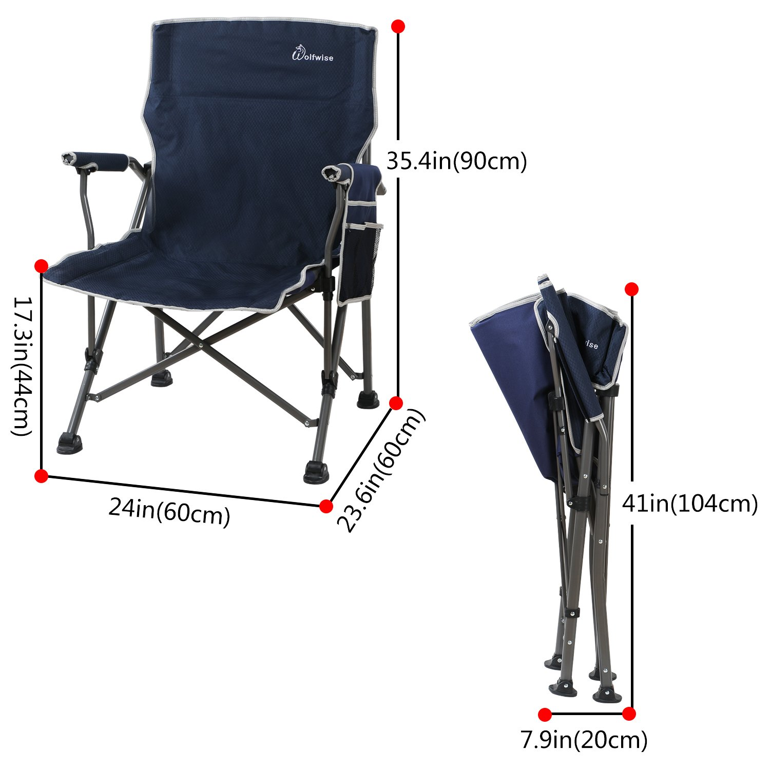 WolfWise Heavy Duty Folding Camping Chairs Portable Backpacking