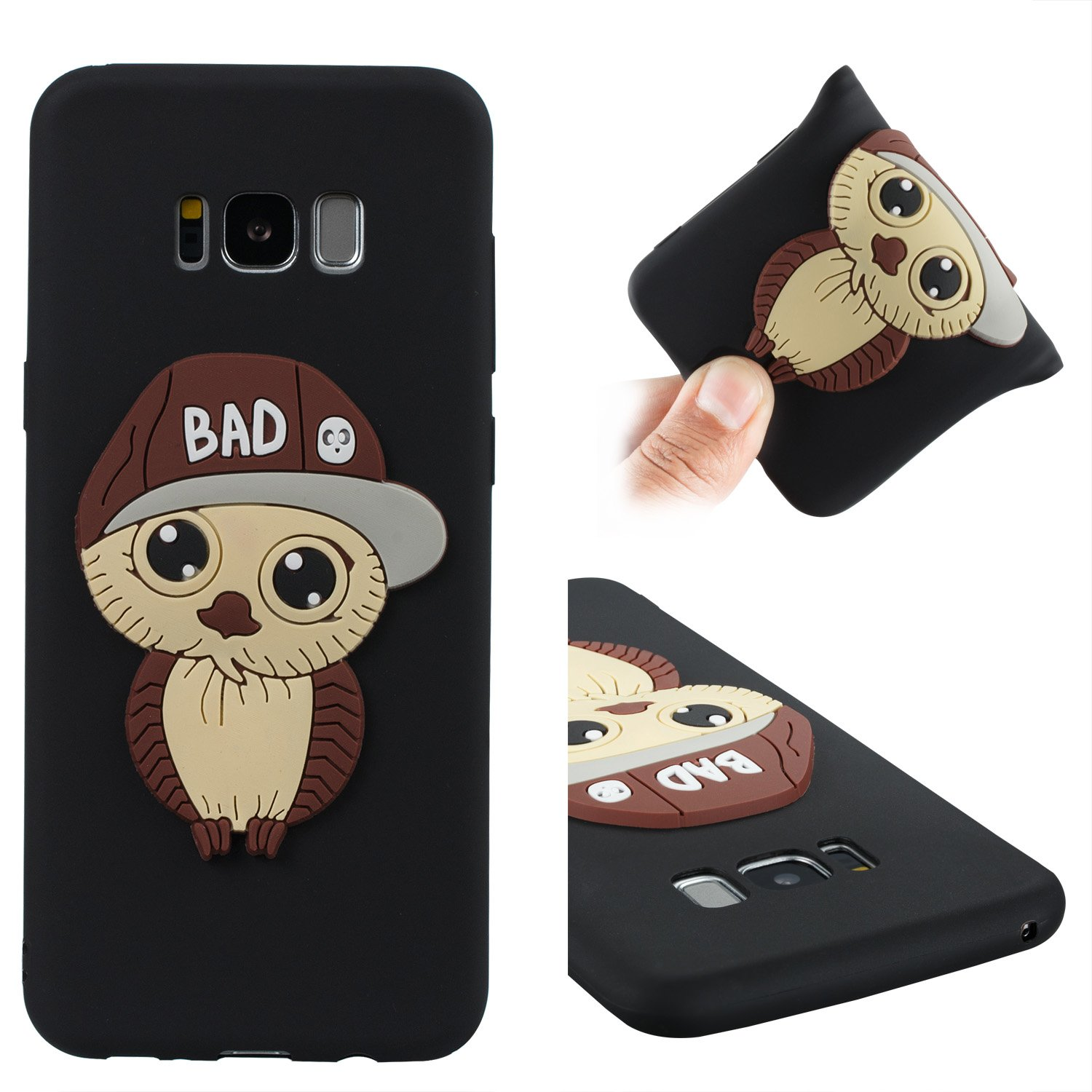 Galaxy S8 Plus Case,DAMONDY 3D Cute Cartoon Owl Pattern Soft Silicone Gel Slim Design Rubber Thin Protective Cover Phone Case for Samsung Galaxy S8 Plus -black