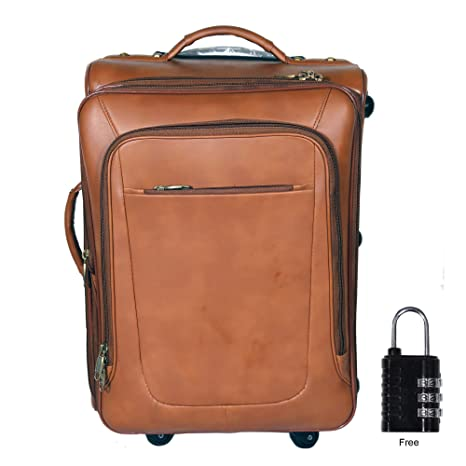 RICHSIGN Leather Accessories 46 L Leather Cabin Size Softsided Travelling Luggage Bag   20 Inch  TAN