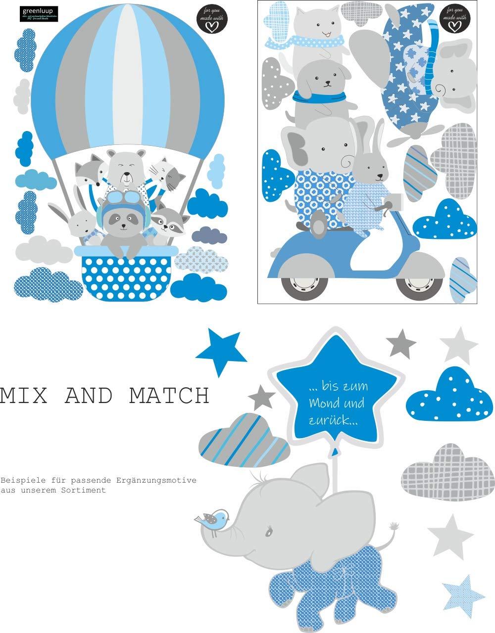 greenluup Wandsticker Wandtattoo Hei/ßluftballon Tiere Elefant Waldtiere Blau Grau Kinderzimmer M/ädchen Junge Baby Wolken 36
