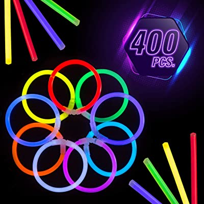 CoBeeGlow Glow in The Dark Bracelets - Glow Stick Bracelets Bulk - Extra Bright Party Favors - 8 Inch Bracelet - 9 Vibrant Neon Colors - Mix (400 Pieces): Toys & Games