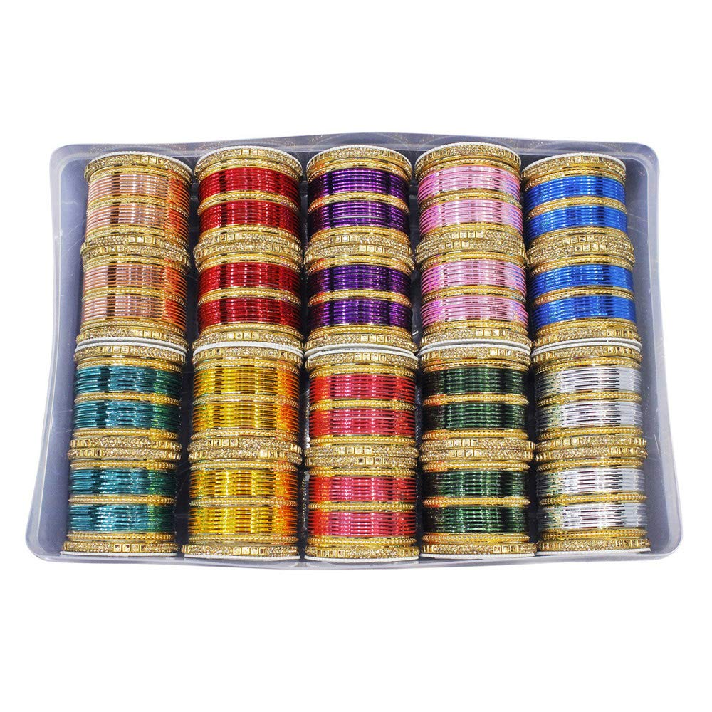 MUCH-MORE Unique Bollywood Fashion Indian Bangles Box Multi Color Party wear Bangles Jewelry (2.4)
