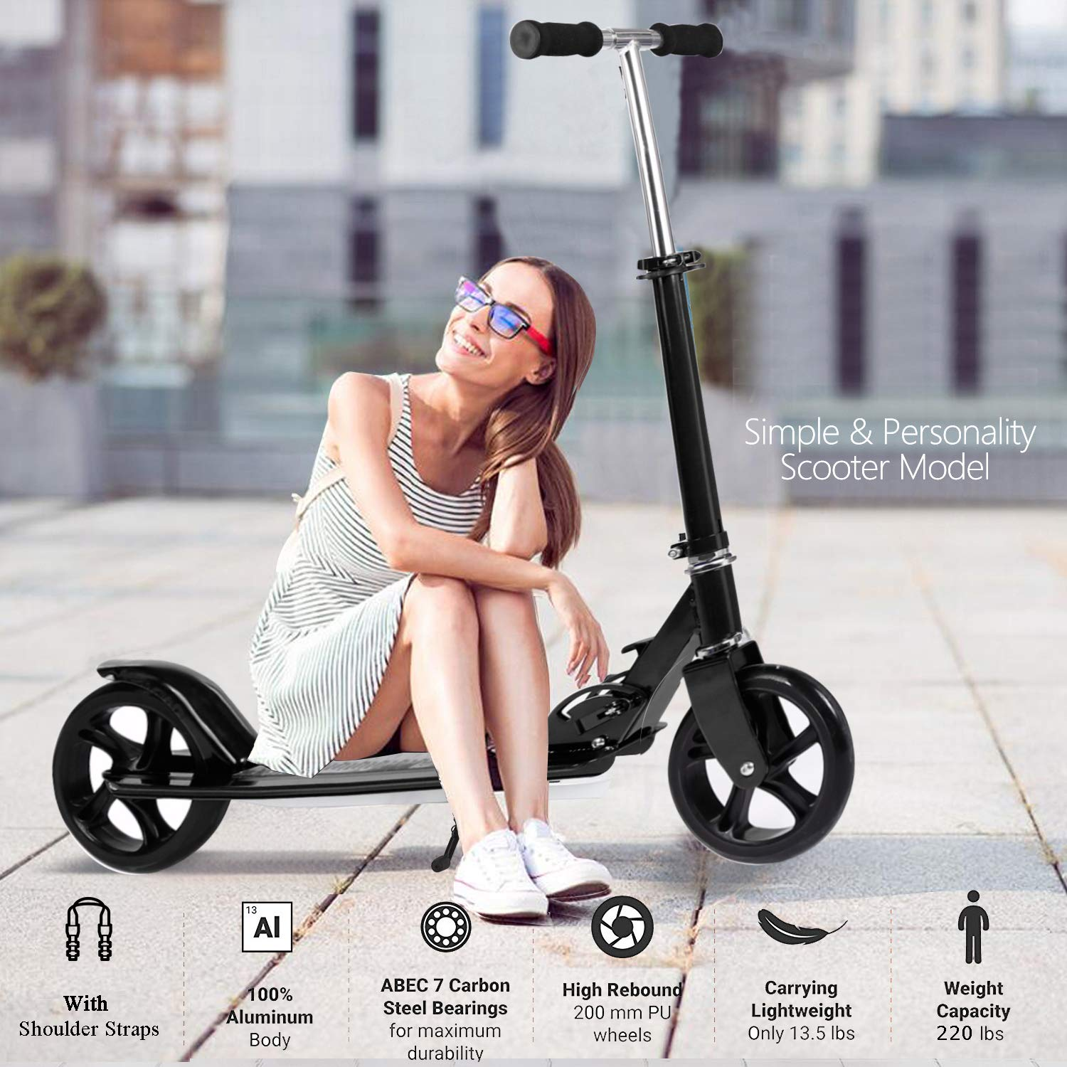 OppsDecor Adult Scooter with 3 Seconds Easy-Folding System 200mm Big Wheels Teens Commuter Scooter, 220lbs Adjustable City Scooter Age 8 Up (Black) by OppsDecor