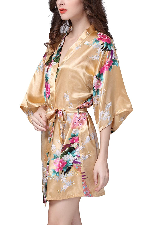 Kurz Stil YAOMEI Damen Morgenmantel Kimono Seidig Satin Nachtw/äsche Bademantel Robe mit Peacock und Blume Kimono Negligee Seidenrobe Locker Schlafanzug