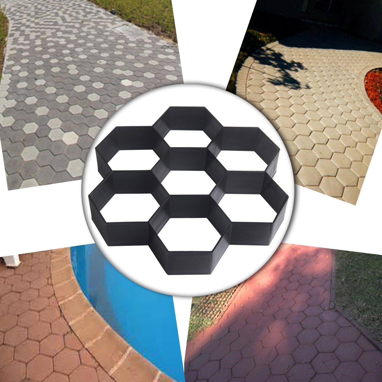 COM4SPORT DIY Patio Walk Maker Stepping Stone Concrete Paver Mold Reusable Path Maker Mold Garden Paving Stone Molds 11.4x11.4 Inch (Hexagon)