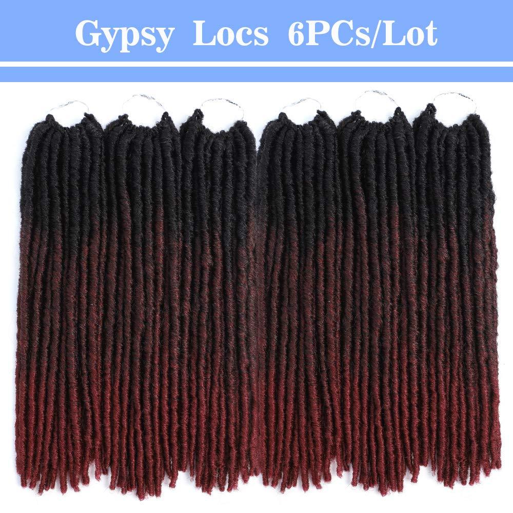 MOBOK 14inch 6packs Straight Fauxs Locs Crochet Hair Ombre Soft Fauxloc Havana Pre-Looped Gypsy Fauxs Locs Crochet Hair(14'' (6-Packs), OT99J530)