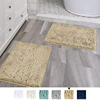 "Microfiber Bath Rugs Chenille Floor Mat Ultra Soft Washable Bathroom Dry Fast Water Absorbent Bedroom Area Rugs Indoor Mats Entryway, Duck Egg Shell Blue 20"" x 32""/17"" x 24"""