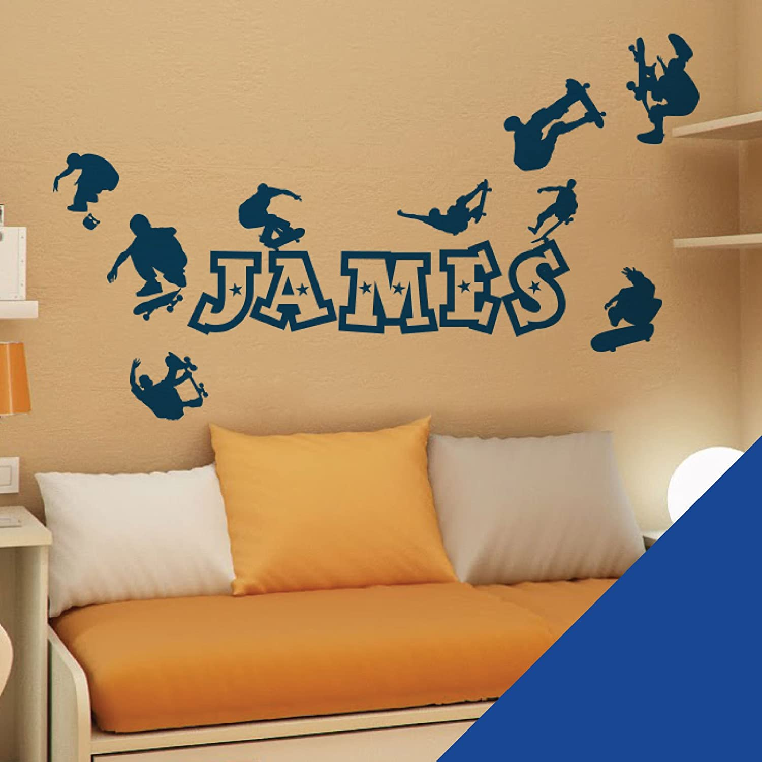 Personalised Name Boys Wall Art Sticker Skaters Skateboard Park Wallpaper 42 Skate Please Message Us With The