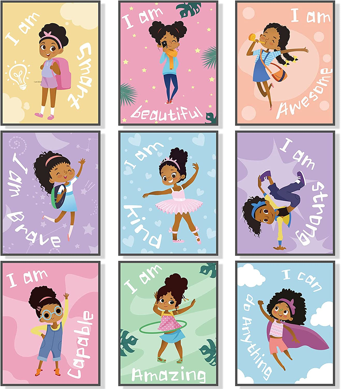 Outus 9 Pieces Girls Room Decor Black Girl Wall Painting Art Decor Motivational Black Girl Posters Girls Bedroom Motivational Art Paint for Kids Teen Girls Room Wall Decorations,Unframed, 8 x 10 Inch