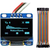 MakerHawk OLED Display Module,SPI I2C IIC 128X64 LCD LED Display Module for Arduino UNO R3 STM 0.96 Inch and 40pcs Dupont Wire 20CM 40-Pin Female to Female