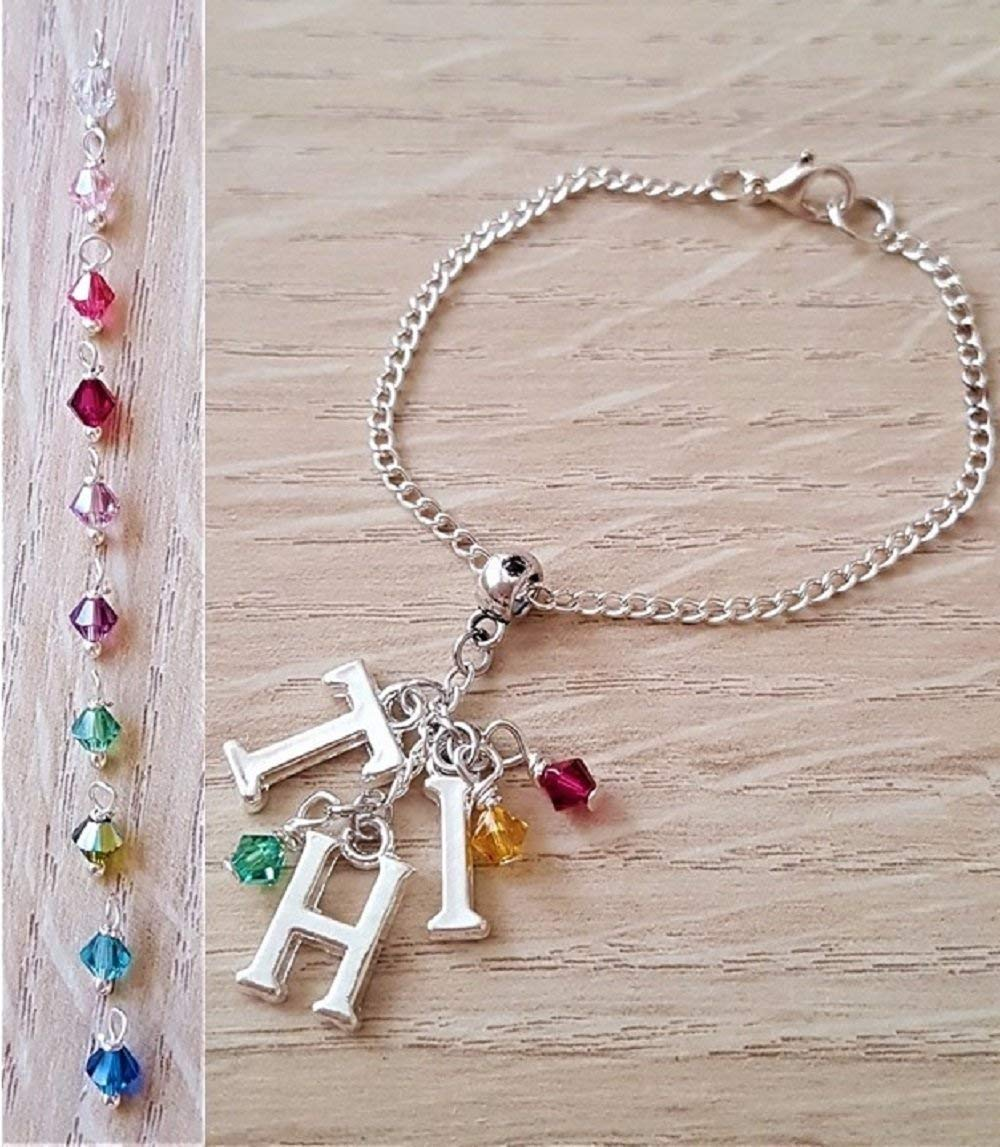 Handmade Personalised Initial Silver Bracelet with Genuine Crystals