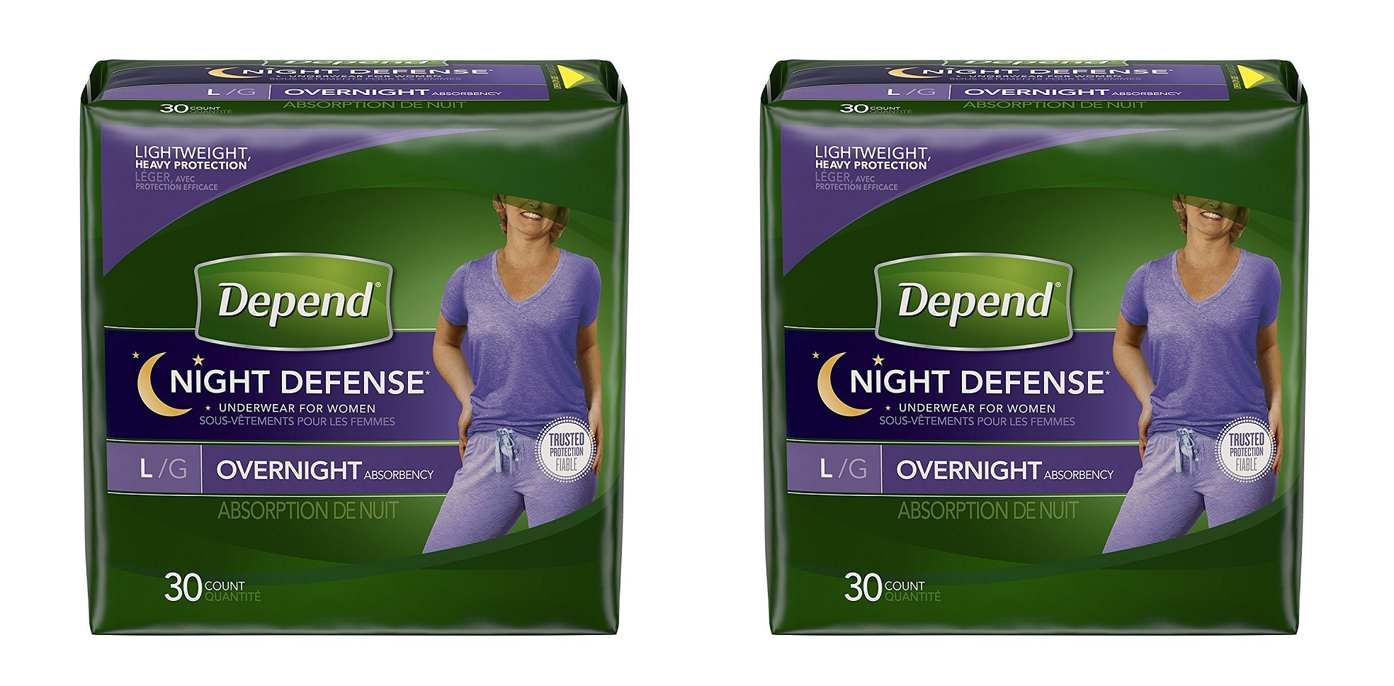 Depend Night Defense Incontinence Overnight Underwear for Women,  2Pack (30 Count (Large))