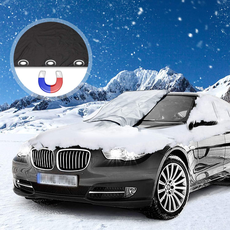 Migimi Frontscheibe Abdeckung Frostabdeckung Magnet Eisschutz Winter Scheibenabdeckung Auto Frostschutz Abdeckung Für Windschutzscheibe Gegen Schnee Eis Frost Staub Sonne 210 X 120 Cm Auto