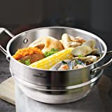 "HOMI CHEF 9.5"" Wide 4.5"" DEEP 3-RIDGE Universal Steamer Insert Cookware (NICKEL FREE Stainless Steel, 3 Ridges for 8""/ 9""/ 9.5"" Pots) - Steamer Inserts for Pots Cookware - Kitchen Steamer for Cooking"