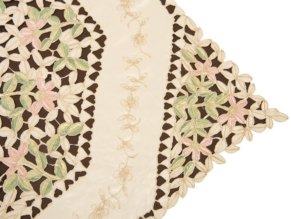 Simhomsen Beige Embroidered Floral Lace Doily Table Runner Rectangular 16 /× 36 Inch