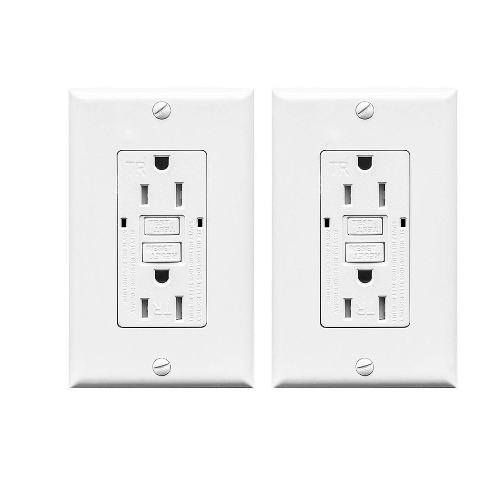 Yougagirl 2 Pack GFCI Outlet 15amp 125 Volt GFCI Receptacle Tamper Resistant GFCI Outdoor Outlet with LED Indicater Light and 2 Wall Plates Auto-Test Function UL Certified (2 Pack) by Yougagirl (Image #1)