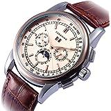 GuTe - Reloj de pulsera para hombre, oro rosa, automático, mecánico, esfera de color negro, correa de poliuretano, día, fecha, mes