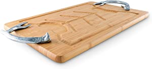 Arthur Court Aluminum Metel Antler Handle on Wood Carving/Cheese Board Large Tray for Serving Meats or Appetizer 23.5 Inch