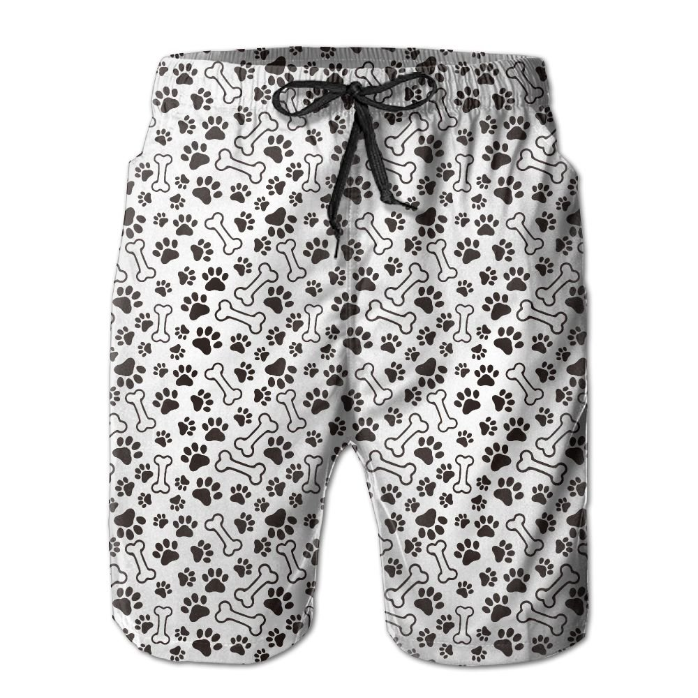 BaPaLa Mens Dog Footprint Palm Beach Shorts Comfortable Swim Trunks