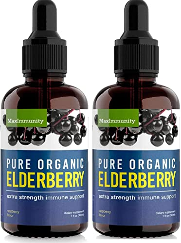2 Pack Organic Elderberry Syrup Extra Strength, Sambucus Elderberry Syrup for Immune Support Immune System Booster – Black Elderberry Syrup