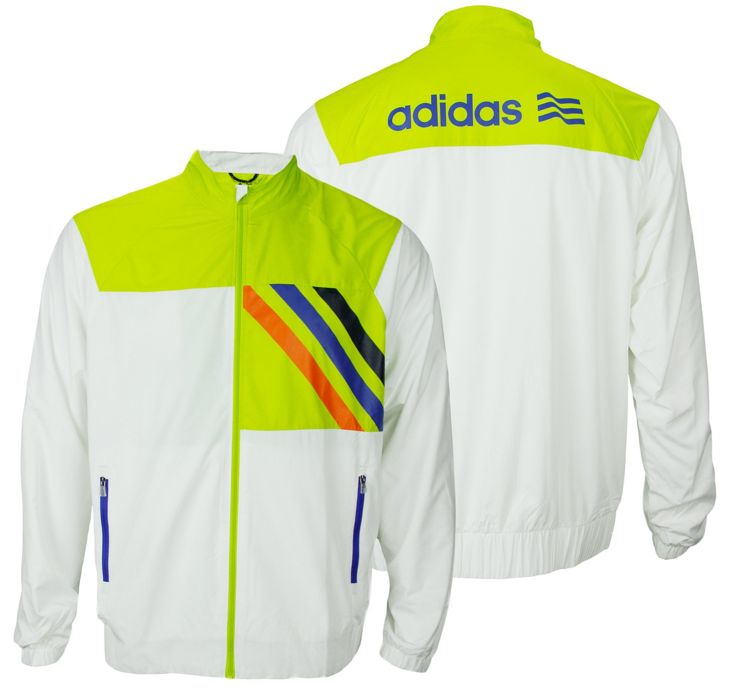 Adidas Front Pocket Woven Lined Jacket (Medium, White/Limeade/Navy/Royal)