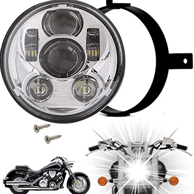 Eagle Lights 5.75 inch LED Motorcycle Headlight Kit for Honda VTX with Bracket and Hardware - Plug and Play (Chrome Generation III) fits 2002-2008 VTX 1800, VTX 1300: Automotive