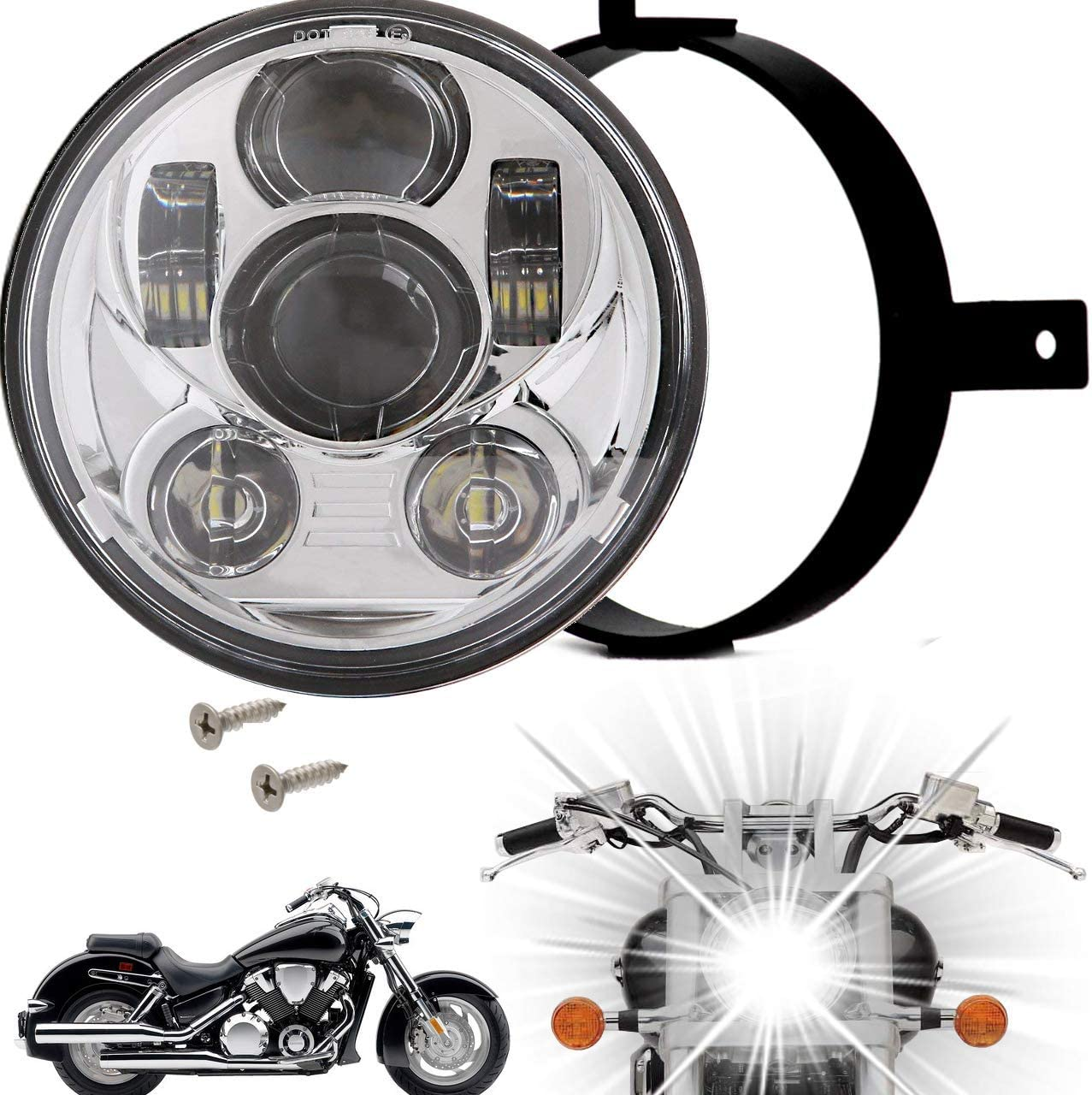 Eagle Lights 5.75 inch LED Motorcycle Headlight Kit with Integrated Turn Signals for Honda VTX with Bracket and Hardware Plug and Play fits 2002-2008 VTX 1800 VTX 1300
