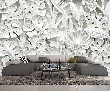 Papier Peint 3d Trompe L Oeil Moderne Blanc Fleurs